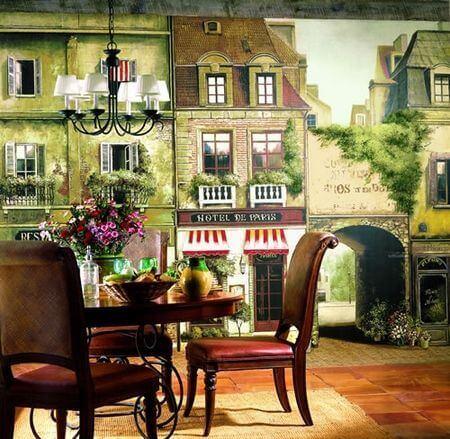 фотообои в интерьере кафе: