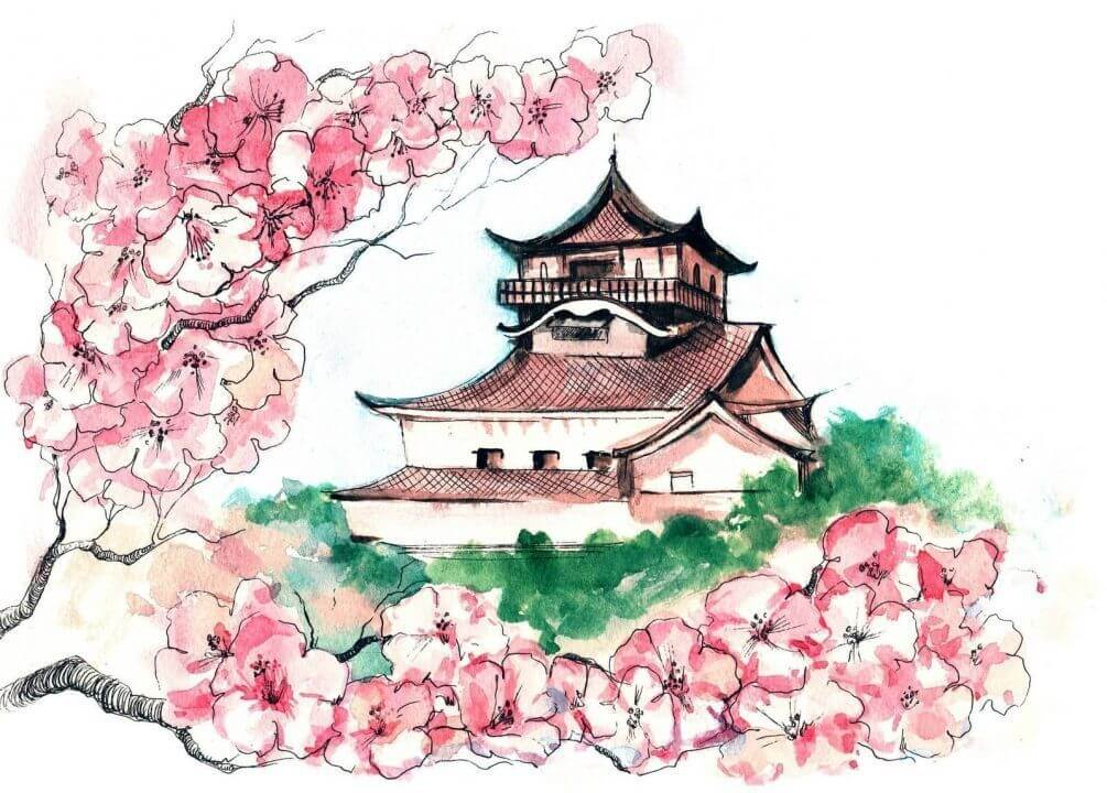 Японский рисунки в эскизах